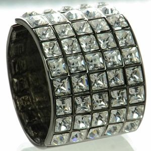 KENNETH JAY LANE KJL Gunmetal Crystal Bracelet USA